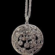 2.94 CTW Edwardian Platinum & OMC Diamond Crescent Moon & Dangling Stars Pendant / Brooch ~ Unusual Conversion Kit