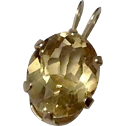 Vintage 2CT Oval Citrine & 14K Gold Pendant