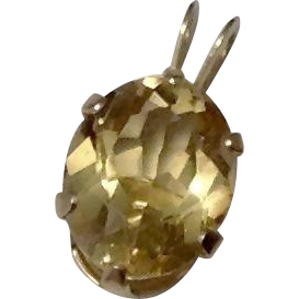 Vintage 2CT Oval Citrine & 14K Gold Pendant