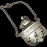 SHERRY Sterling Silver Liquor Tag Decanter Label ~ Wild Boars Head Motif