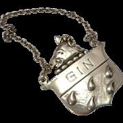 GIN Sterling Silver Liquor Tag Decanter Label ~ Wild Boars Head Motif