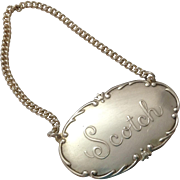 SCOTCH Webster Sterling Silver Liquor Tag Decanter Label
