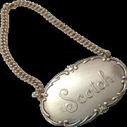 SCOTCH Webster Sterling Silver Liquor Tag Decanter Label