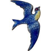 Vintage Singed Paye & Baker Sterling & Enameled BLUE BIRD Pin