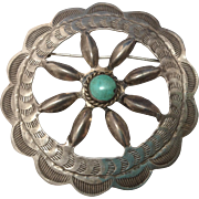 c1930 Native American Southwest Indian Sterling & Turquoise Brooch