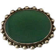 Vintage Green Onyx & 800 Silver Brooch / Pin