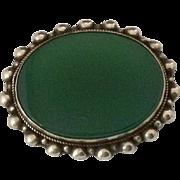 Vintage Green Onyx & 800 Silver Brooch / Pin