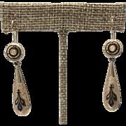 Victorian GF Taille D'Epergne Enamel Long Dangle Earrings