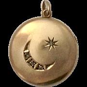 Victorian 10K Rose Gold & Rose Cut Diamond Locket Pendant ~ Crescent Moon & Star