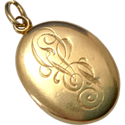 Antique Victorian 14K Gold Oval Locket Pendant