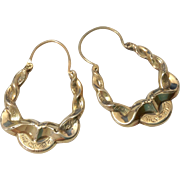 Early Antique Victorian Hoop Earrings 9 Carat Gold