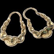 Early Antique Victorian Hoop Earrings 9 Carat Gold