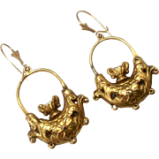 Antique Georgian Era 15K Gold Earrings ~ Urn Motif ~ c1800