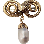 Victorian 14K Gold Love Knot & Pearl Brooch c1880