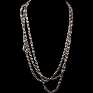 "Antique Gunmetal Muff Chain ~ 59"" Bead Link"