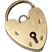 Vintage English 9CT Rose Gold Heart Padlock