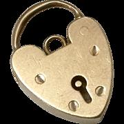 Vintage English 9CT Rose Gold Heart Padlock