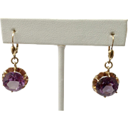 Estate 14CT Amethyst Earrings ~ 14K Gold Lever Backs