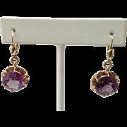 Estate 14CT Amethyst Earrings ~ 14K Gold Lever Backs