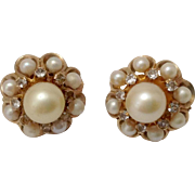 Estate Diamond Pearl Domed Cluster 14K Gold Earrings ~ Lever Backs