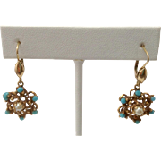 Estate Persian Turquoise & Pearl Star Cluster 14K Gold Earrings ~ Lever Backs