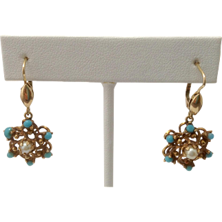 Estate Persian Turquoise & Pearl Star Cluster 14K Gold Earrings ~ Lever Backs