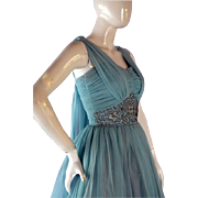 Vintage 1950's Ball Gown Tea-length Short Prom Dress Evening Gown XS
