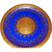 "Wonderful Vintage 12.5"" FAIRY & GNOME Cobalt Blue & Heavy Gilded Bavarian Tirschenreuth German Plate Charger *From Movie Star Estate*"