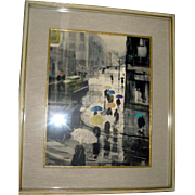 "Original Ralph Avery Watercolor ""Umbrellas Dancing in The Rain"""