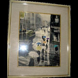 """Original Ralph Avery Watercolor painting """"Umbrellas Dancing in The Rain"""""""