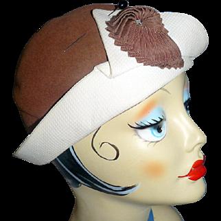 "1930s Velvet Felt & Ribbon CLOCHE HAT by Dawson NY 21"" Art Deco"