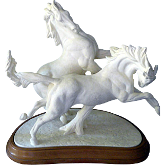 "Rare Doris Lindner Royal Worcester ""Galloping Horses"" 3466 Production Piece, One of Few Made"