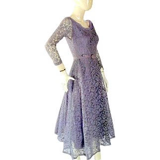 Vintage 1950's Lavender LACE Prom Evending Dance Dress Bust 32 Small