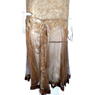 Amazing Original 1920s Embroidered LACE FLAPPER Dress