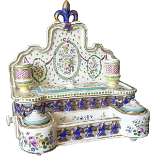 SPECTACULAR 19th Century French Antique Ink Well Hand Painted Faience Standish