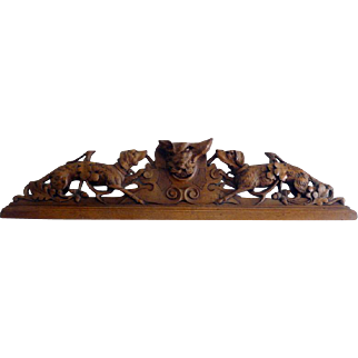 "Large 40"" Antique Carved Wood Pediment DOGS WOLF HUNTING Black Forest"