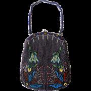 Vintage 1910s-1920s Micro Beaded Purse Handbag Flowers Art Deco/Nouveau