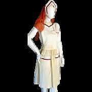 "RARE WWI WW1 Nurses Apron Cap & Collar ""ACS"" Made in Beverly Hills"