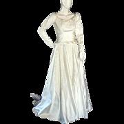 True vintage 1955 Wedding dress 1950's With Satin & Alencon Lace + Tiara