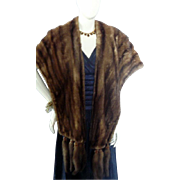 Vintage 1930s 1940s LONG BROWN MINK Stole with Detchable Tails Hollywood Glamour