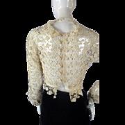 Antique 1910s Edwardian HANDMADE Lace Blouse Jacket Top Bridal