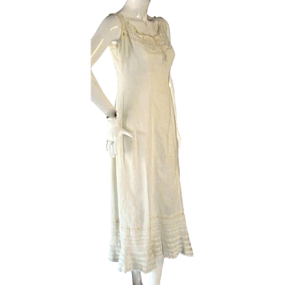Womens 1900-1910 Antique Victorian Edwardian NightGown Chemise Lace & Embroidery
