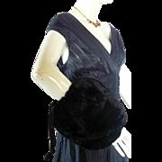 Vintage 1940s1950s REX RABBIT Black Fur Muff Hand Warmer  PURSE