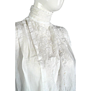 Original 1900s Victorian Edwardian Blouse Top High Collar Lace Antique LARGE
