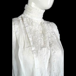 Original 1900s Victorian Edwardian Blouse Top High Collar Lace Antique LARGE