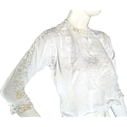 Original 1900s Victorian Edwardian Blouse Top With Lace & Embroidery Antique