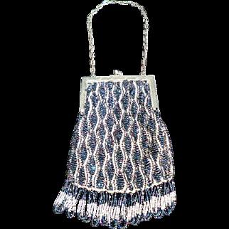 Vintage 1910s-1920s Micro Beaded Purse Handbag IRRIDESCENT Art Deco/Nouveau