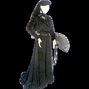 Antique c. 1900 EDWARDIAN Complete Mourning Ensemble *Gown *Parasol *Hat *Fan *Gloves