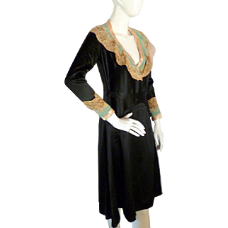 """Vintage DECO 1920s Black Silk & Point de Gaze Lace Dress Bust 36"""""""