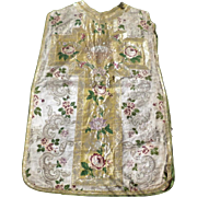SPECTACULAR French 19th C. Embroidered Priest Vestement Chasuble Gold & Silver Thread Lamb of God